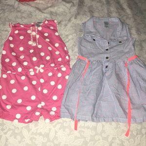 Lot of 2 Carter's Baby Girl 24Month Romper & Dress